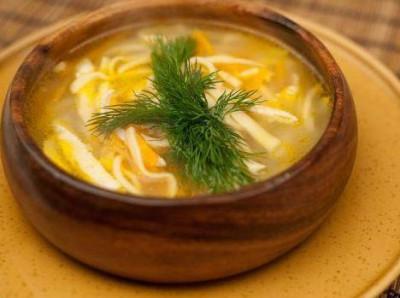 Суп куриный с лапшой домашней